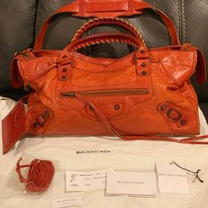 Balenciaga chèvre orange purse